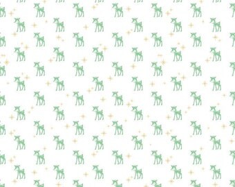 Christmas Fabric/Cozy Christmas/Lori Holt/Mint Green Reindeer/White Cotton Yardage/Quilting, Clothing, Craft/Fat Quarter, Half, By the Yard