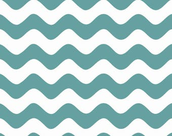 Riley Blake Wave Fabric, Choose Teal, Aqua, Gray, Green and White/Cotton Sewing Material/Quilting, Clothing, Crafts/Fat Quarter, By The Yard