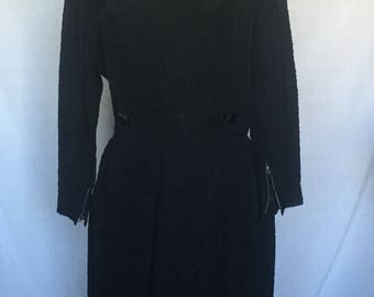 1950's Black Crepe Fitted Dress