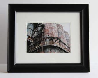 "5""x7"" Original photo of Bethlehem Steel Stacks includes mat and frame measuring 10""x12"""
