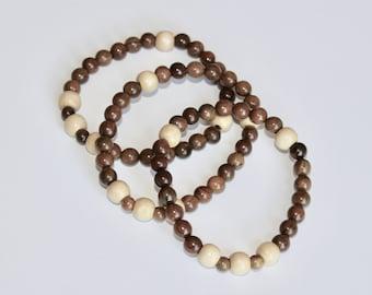 Men's prayer bracelet, wood bead bracelet