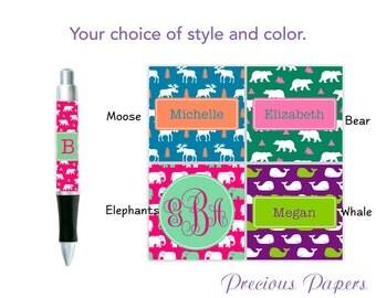 Personalized elephant pen, whale pen, bear pen, moose pen, elephant gift, whale gift, bear gift, moose gift