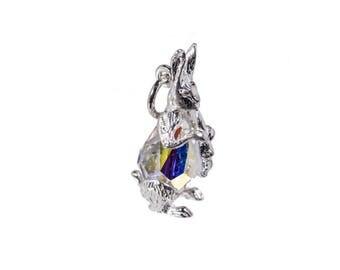 Sterling Silver & Swarovski Crystal Set Rabbit Charm For Bracelets