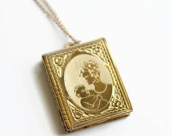 Vintage Book Locket, Mother and Child, 4 Picture Locket, Engraved, Circa 1950's