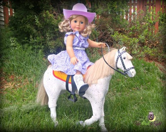 """Complete Cowgirl Outfit in Purple -- American Made for Your 18"""" Girl Doll -- Closed Edition"""