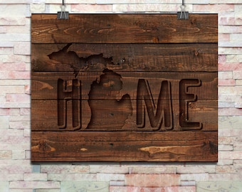 Rustic Michigan Carved Out Wood Digital Art Print | JPG and PNG Files | 8 x 10 Digital Art Download | Michigan Wall Printable