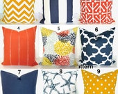 ORANGE OUTDOOR PILLOWS Blue Pillows Yellow Pillow Covers Navy Blue Indoor/Outdoor Pillow Covers 16x16 18 20 Coral Yellow  Floral Home decor