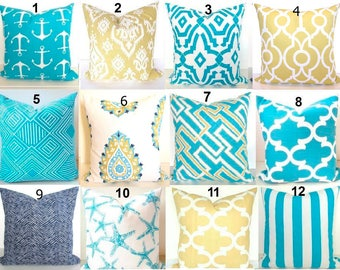 TURQUOISE PILLOWS Aqua Blue Throw Pillows Turquoise Pillow Covers And Yellow Gold BEACH
