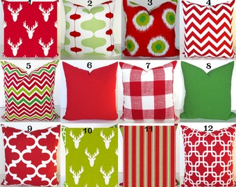 red pillows red decorative throw pillows green holiday christmas pillow covers 16x16 18 20x20 all