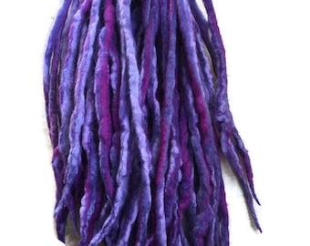 Wool Dreadlocks Purple blended custom wool dreads-  Double Ended Roving art hair extensions Kit