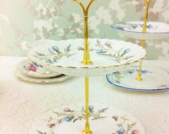 "Royal Albert ""Brigadoon"" 2 Tier Mini Cake Stand"