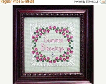 25% OFF SALE Handblessings Summer Blessings Cross Stitch Pattern w/charm