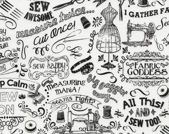 Fabric Lover fabric -  words, phrases, images and puns related to sewing and fabric - Gail Cadden for Timeless Treasures - by the YARD