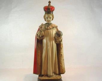 statue of Infant of Prague plaster 1930s Catholic church