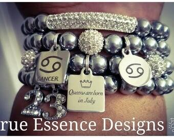 Cancer Zodiac Bracelet made w/Hematite (4) Bracelets