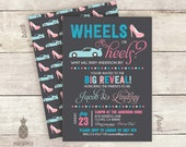 Wheels Or Heels? Baby Gender Reveal Invitations - Colors Used: Charcoal, Cyan, Pink, Baby Blue, & Baby Pink