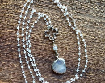 Rainbow Moonstone, Y-Necklace, Rosary Chain Necklace, Moonstone Necklace, Long Necklace, Bohemian Jewelry, Layering Necklace, Cross Necklace