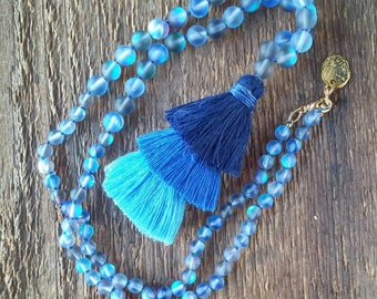 Tassel Necklace, Layering Necklace, Ombre Tassel Necklace, Long Necklace, Bohemian Jewelry, Boho Jewelry
