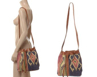 Vintage 80s Southwestern Indian Kilim and Leather Bucket Bag 1980s Boho India Tribal Ethnic Tapestry Woven Cotton Shoulder Hippie Purse