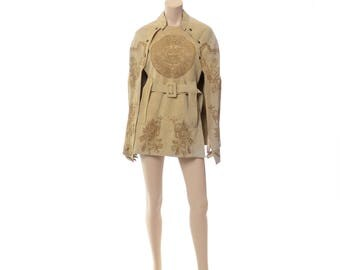 Vintage 70s Ethnic Tooled Suede Cape 1970s Aztec Warriors, Mayan Calendar, Beige Leather, Hippie Boho Belted Poncho Jacket / One Size