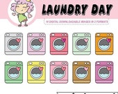 50%off Laundry Day Digital Clipart, washing machine digital download, digital stickers for Goodnotes, clip art, crafting