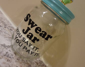 2 Swear Jar You Say It You Pay It Mason Decal For Your Jar Storage Box Label Homemade DIY Gift Sticker Label Piggy Mens Gift Bank Cuss Words