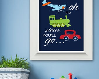 Boys Oh The Places You'll Go Transportation Wall Art Print 16 x 20 Navy, Lime, Orange - Nursery, Toddler Bedroom Decor - Unframed