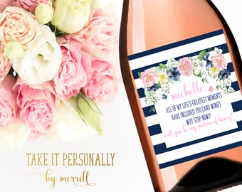 Will you be my bridesmaid wine bottle labels wedding party wine bottle labels