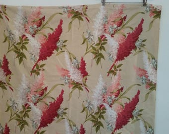 """Vintage Fabric Floral Bark Cloth Upholstery Yardage Decorator's Fabric Made by Saison Prints Vat Print Pre-Shrunk  1950's 84"""" x 47"""""""