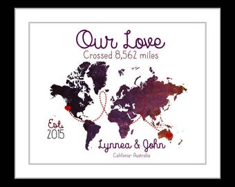 Long distance gift for boyfriend, couples, distance love is the greatest adventure, wanderlust, custom world map art print, valentines gift