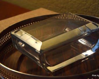 1 Dollar Shipping!  Signed Retro Val Saint Lambert Crystal Trinket Casket Jewelry Box