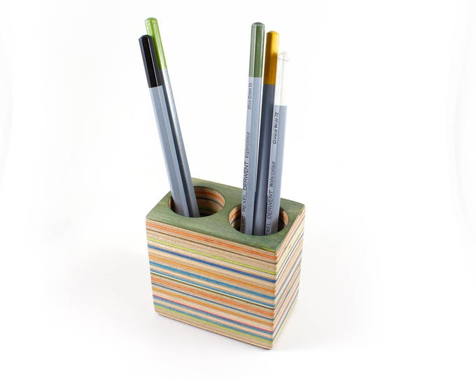 Pencil Holder made from Recycled Skateboards, Double