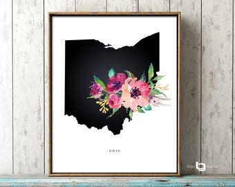 Ohio Map Wall Art, Ohio Map Print, OH Map Print, Ohio Map Watercolor Art, Art Decor, Ohio USA Watercolor Flowers, Print Poster