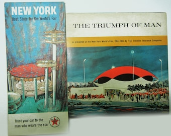 New York World's Fair Map and Record (1960s) Vintage Map Collectible Roadmap and Travelers Insurance Record The Triumph of Man