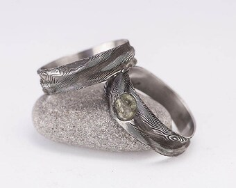 Romantic MOLDAVITE Wedding,Engagement Ring, Womens rustic DAMASCUS steel ring with a gemstone,ring for her - Water Nymph with a moldavite