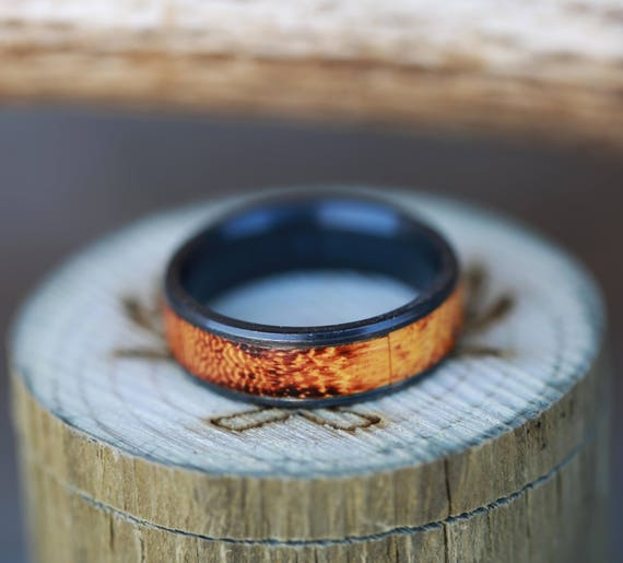 mens black zirconium wedding band with burnt hedge wood staghead designs