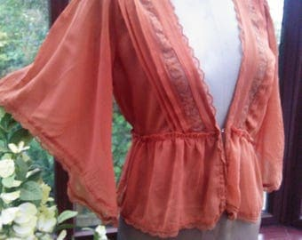 Soft chiffon blouse top flared sleeves lace trimmed vintage style frilled waist size uk 14 and usa size 10