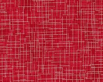 Robert Kaufman Quilters Linen fabric Red Metallic