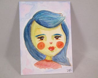 ACEO Original Watercolor Girl Blue Hair Red Lips OOAK Gift Ceville Designs