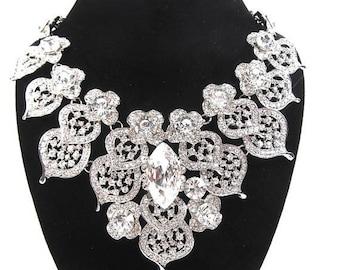 SALE SALE Rhinestone Crystal Necklace, Bridal Statement Necklace, Vintage Inspired Wedding Necklace