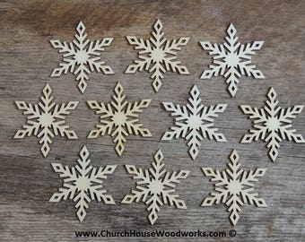 3 inch Snowflake Wood Christmas Ornaments- 10 pack Style 4 -  DIY Wooden Christmas Crafts Ornament Making Supplies