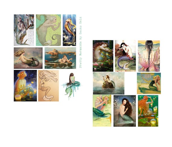Pretty Mermaids Digital Collage Set