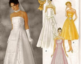A Strapless, Princess Seam, Flared A-Line Evening/Cocktail Dress & Overdress Pattern for Women: Uncut - Sizes 14-16-18-20 ~ Simplicity 7068
