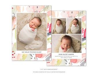 BA5 :. Birth Announcement template | Colorfull Watercolor