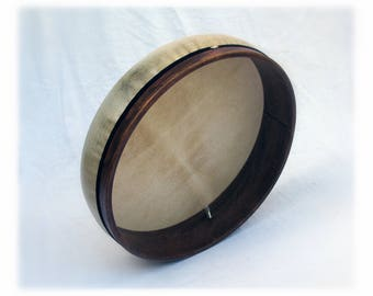 Framedrum Tunable 45cm Inner Tube Pneumatic Tuning Deep Shell Bendir Tar Lap Style Walnut Satin Finish by KleoDrums