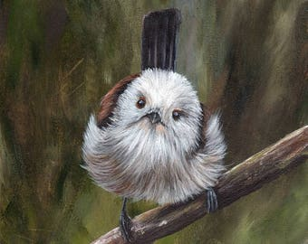 SALE Bird Art Painting Wildlife Long Tailed Tit SFA  - Original hand painted acrylic bird painting by Australian Artist Janet M Graham