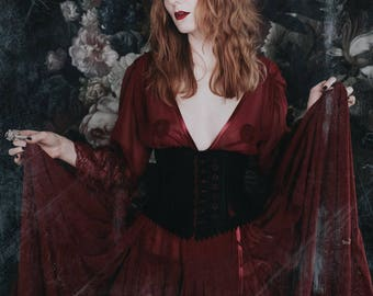 Claret Chiffon Gothic Peignoir with Lace Flounce Sleeve Dressing Gown