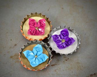 Mini Origami Bottle Cap Magnet Set - Flowers