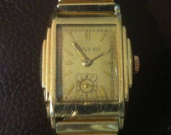Bulova Lone Eagle, Vintage Men's Watch, 1934, 10Kt Rolled Gold, Stepped Sides, Golden Dial, Gold Hour Markers, 17 Jewel 10AN, Free Shipping