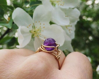 14k Gold Amethyst Ring, Wire Wrapped Ring, Size 7
